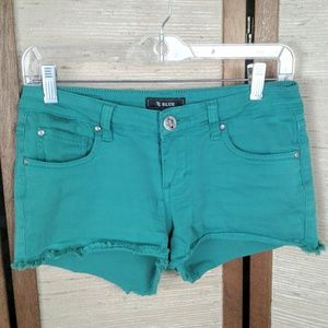 STS Blue green denim cut off shorts 5